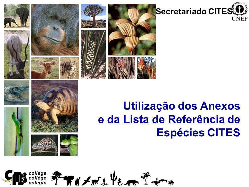 Utilização dos Anexos e da Lista de Referência de Espécies CITES