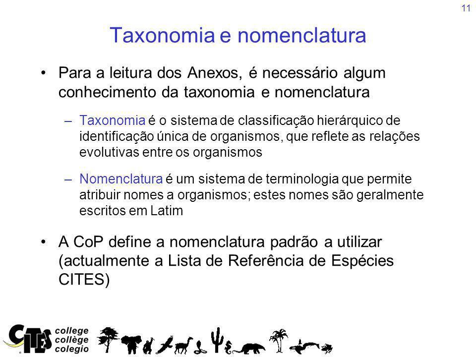 Taxonomia e nomenclatura