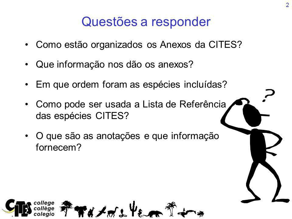 Questões a responder Como estão organizados os Anexos da CITES