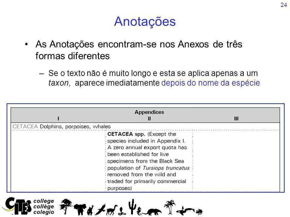 Anotações As Anotações encontram-se nos Anexos de três formas diferentes.
