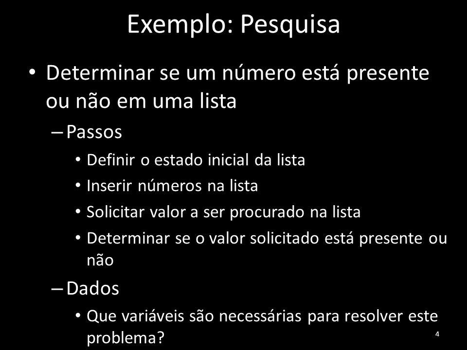Exemplo: Pesquisa Determinar se um número está presente ou não em uma lista. Passos. Definir o estado inicial da lista.