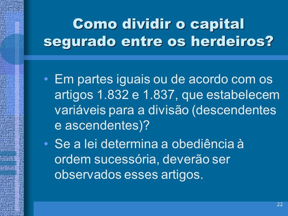 Como dividir o capital segurado entre os herdeiros