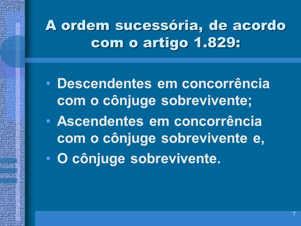A ordem sucessória, de acordo com o artigo 1.829: