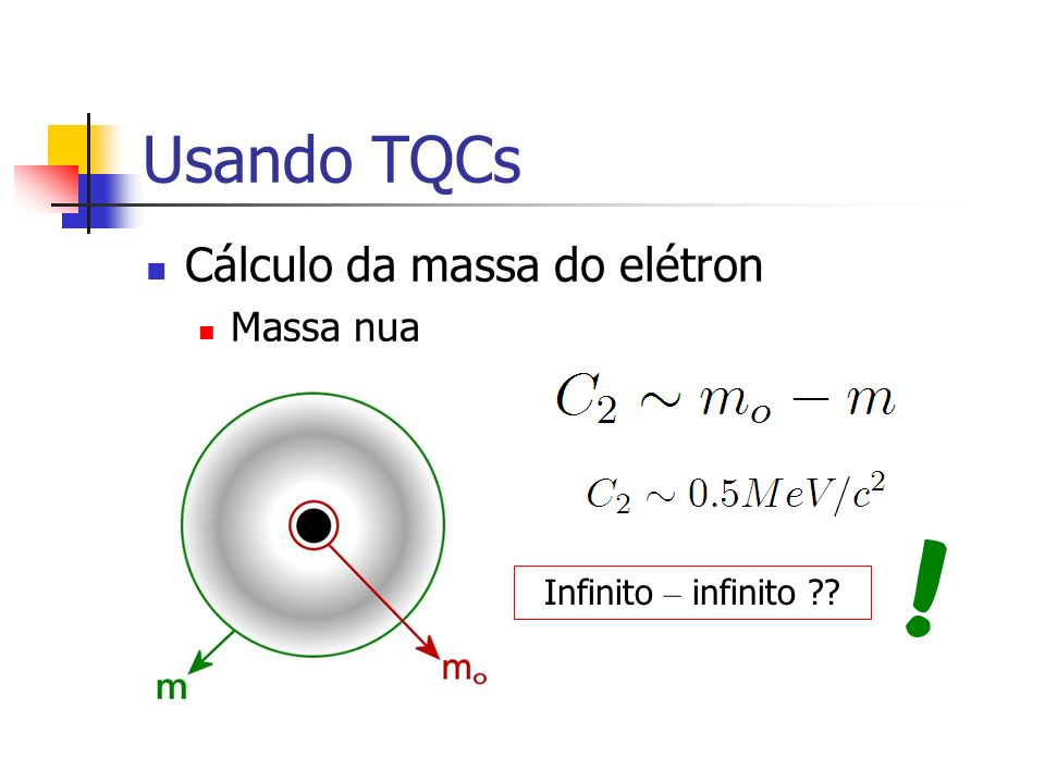 Usando TQCs Cálculo da massa do elétron Massa nua