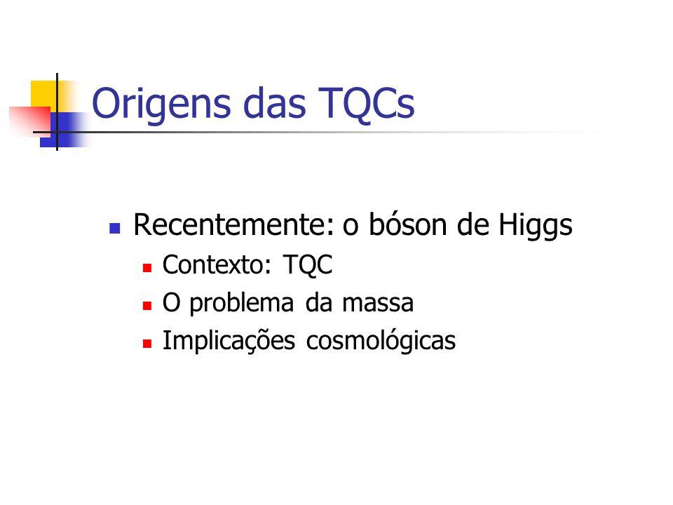 Origens das TQCs Recentemente: o bóson de Higgs Contexto: TQC