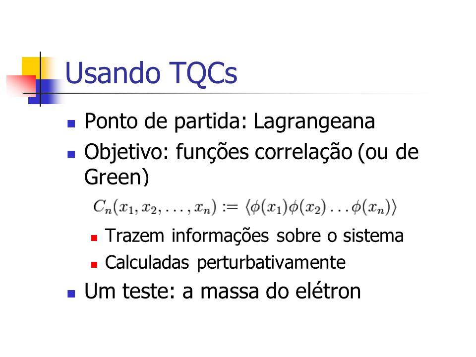Usando TQCs Ponto de partida: Lagrangeana