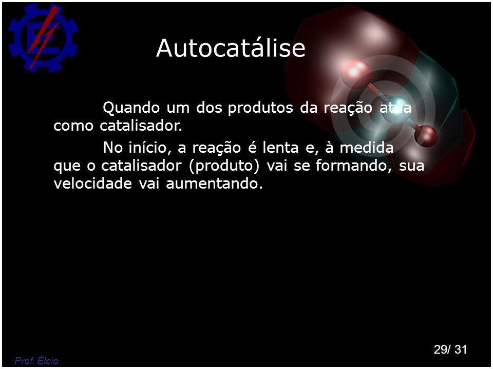 Autocatálise Quando um dos produtos da reação atua como catalisador.