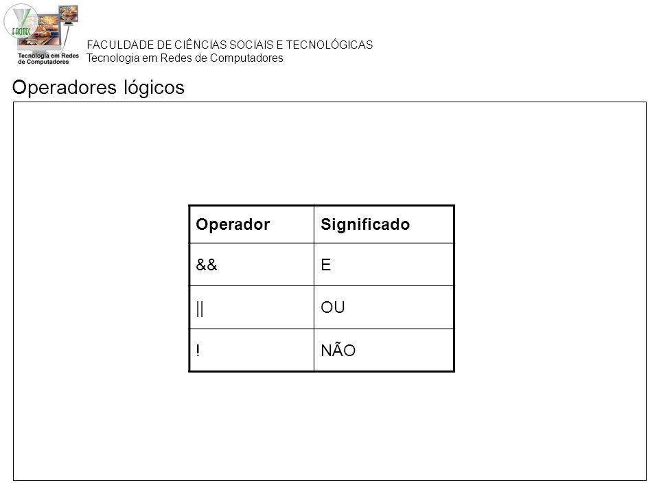 Operadores lógicos Operador Significado && E || OU ! NÃO