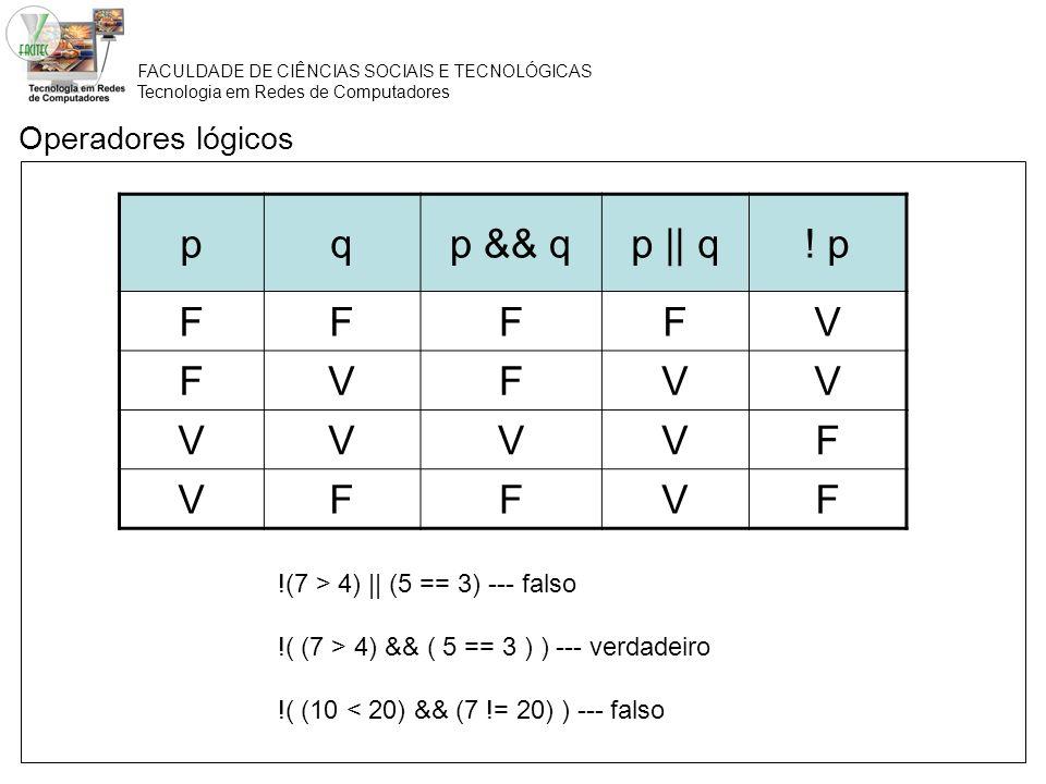 p q p && q p || q ! p F V Operadores lógicos