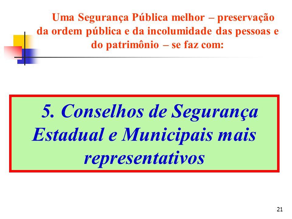 5. Conselhos de Segurança Estadual e Municipais mais representativos