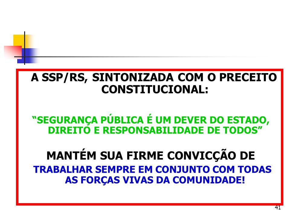 A SSP/RS, SINTONIZADA COM O PRECEITO CONSTITUCIONAL: