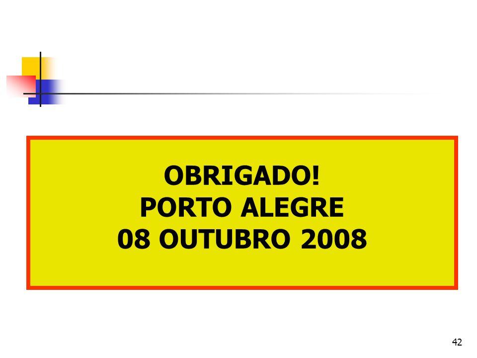 OBRIGADO! PORTO ALEGRE 08 OUTUBRO 2008