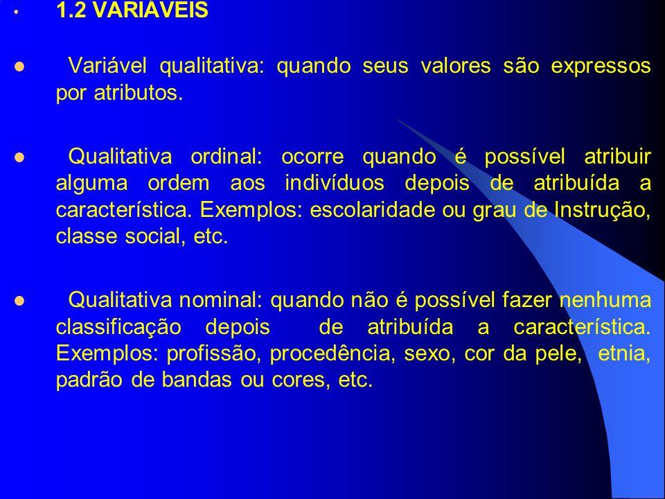 1.2 VARIÁVEIS Variável qualitativa: quando seus valores são expressos por atributos.