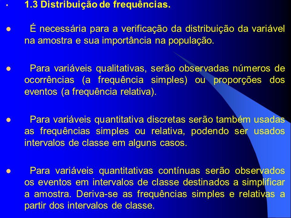 1.3 Distribuição de frequências.