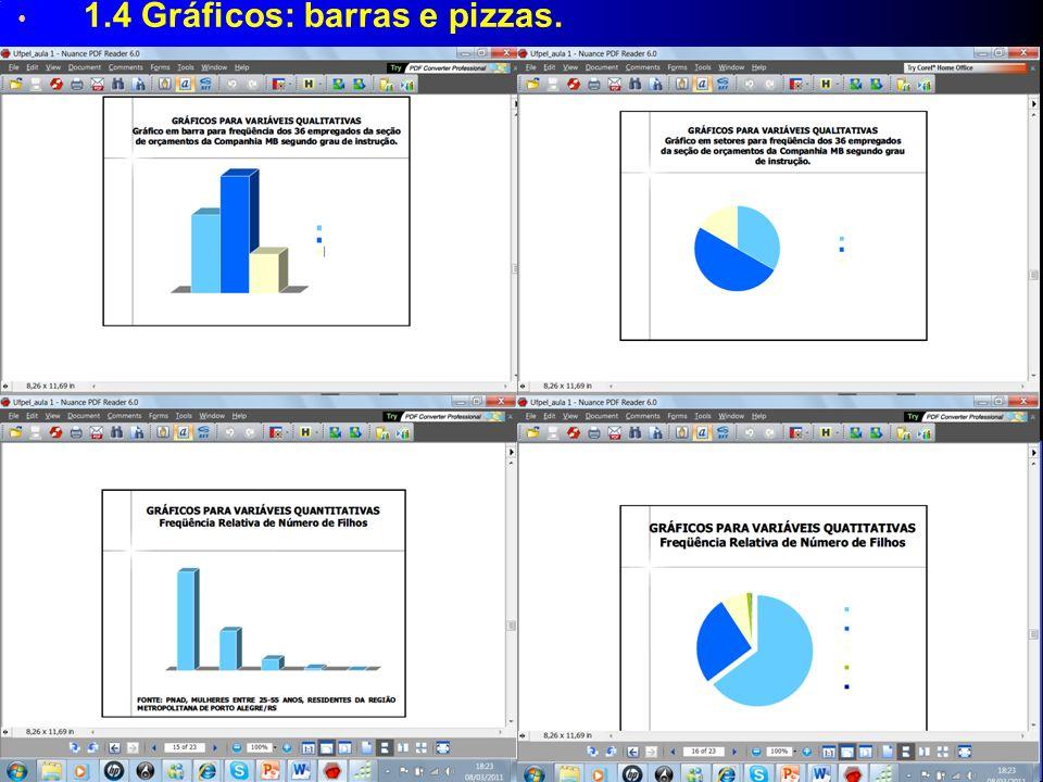 1.4 Gráficos: barras e pizzas.