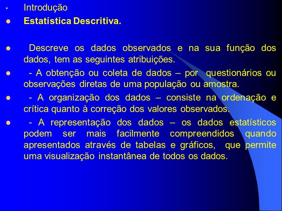 Introdução Estatística Descritiva. Descreve os dados observados e na sua função dos dados, tem as seguintes atribuições.
