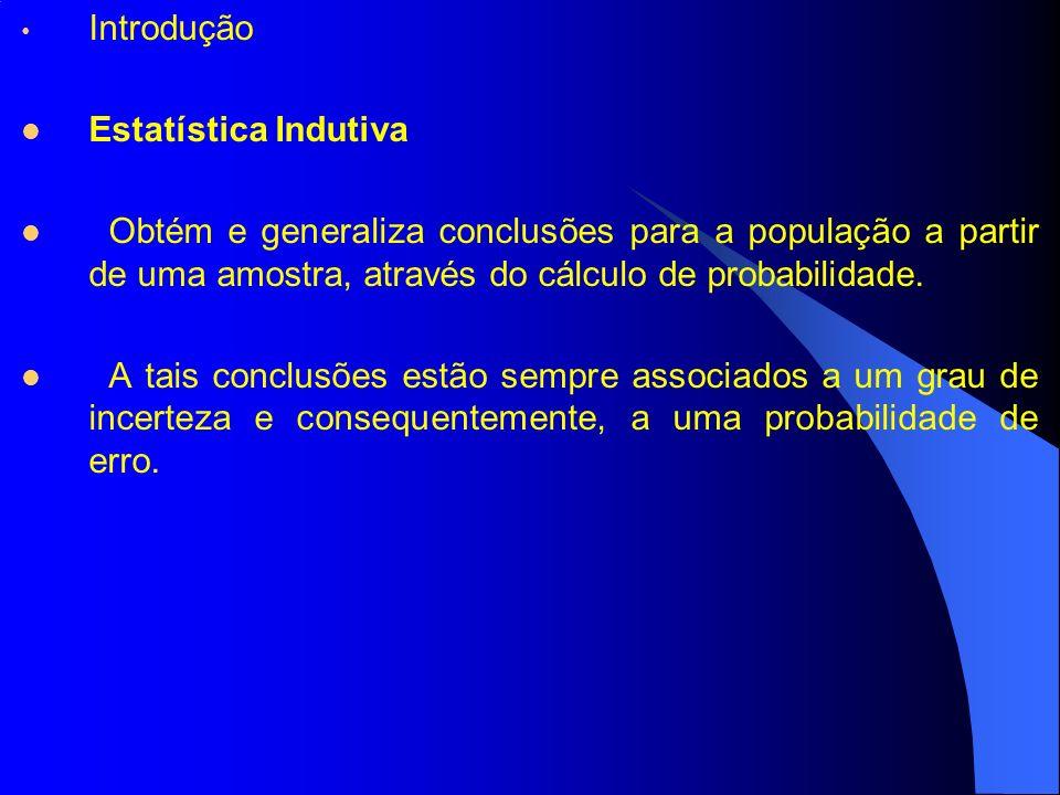 Introdução Estatística Indutiva. Obtém e generaliza conclusões para a população a partir de uma amostra, através do cálculo de probabilidade.