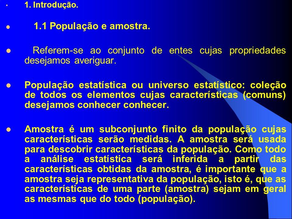 1. Introdução. 1.1 População e amostra. Referem-se ao conjunto de entes cujas propriedades desejamos averiguar.