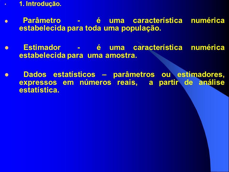 1. Introdução. Parâmetro - é uma característica numérica estabelecida para toda uma população.