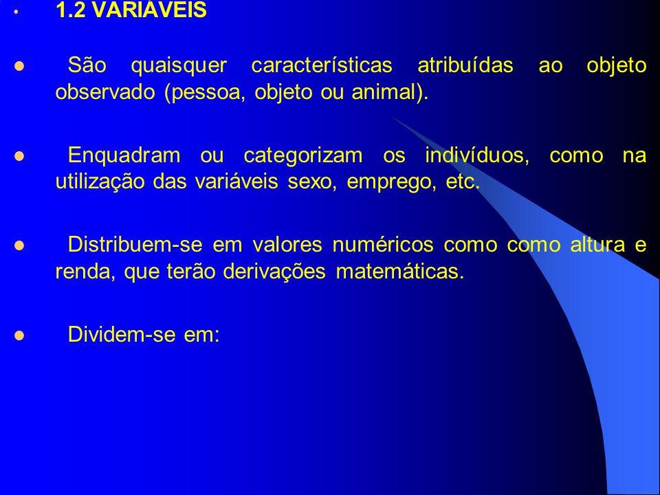 1.2 VARIÁVEIS São quaisquer características atribuídas ao objeto observado (pessoa, objeto ou animal).