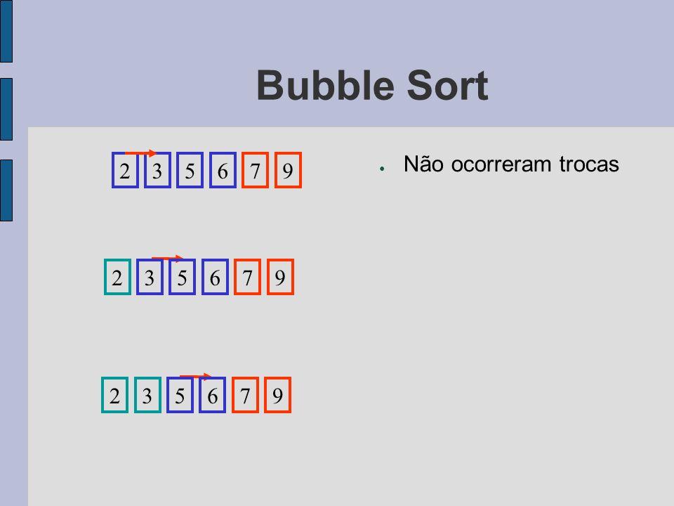 Bubble Sort Não ocorreram trocas 2 3 5 6 7 9 2 3 5 6 7 9 2 3 5 6 7 9