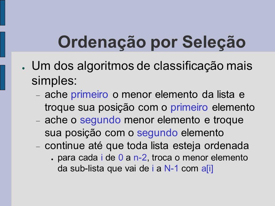 Ordenação por Seleção Um dos algoritmos de classificação mais simples: