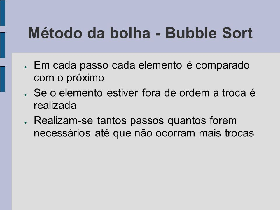 Método da bolha - Bubble Sort