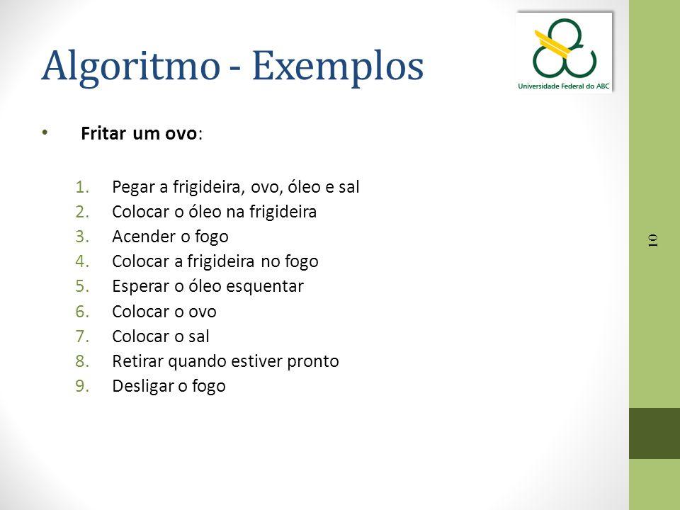 Algoritmo - Exemplos Fritar um ovo: