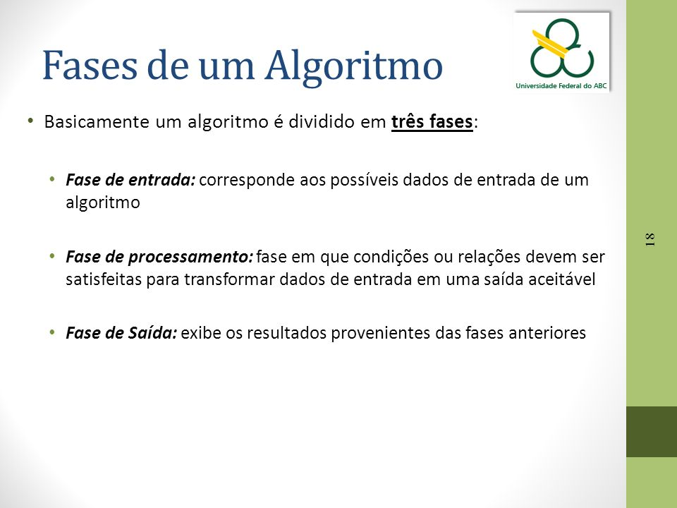 Fases de um Algoritmo Basicamente um algoritmo é dividido em três fases: Fase de entrada: corresponde aos possíveis dados de entrada de um algoritmo.