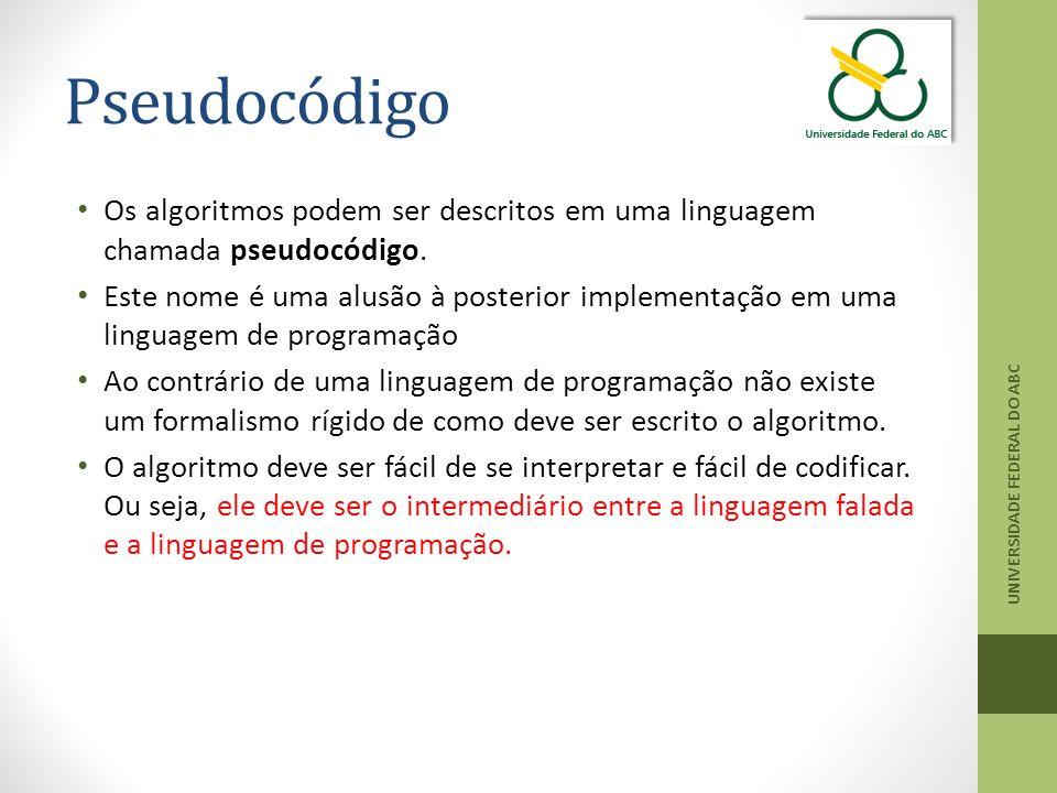Pseudocódigo Os algoritmos podem ser descritos em uma linguagem chamada pseudocódigo.