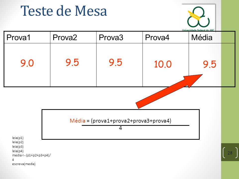 Média = (prova1+prova2+prova3+prova4)