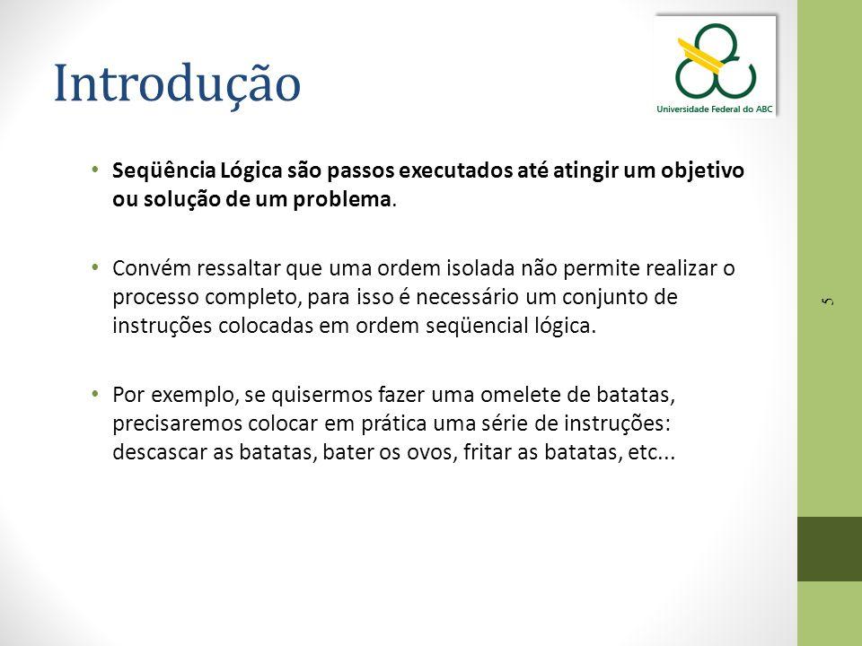 Introdução Seqüência Lógica são passos executados até atingir um objetivo ou solução de um problema.