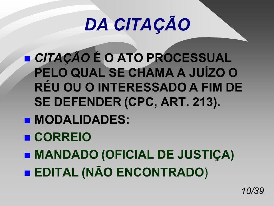 DA CITAÇÃO CITAÇÃO É O ATO PROCESSUAL PELO QUAL SE CHAMA A JUÍZO O RÉU OU O INTERESSADO A FIM DE SE DEFENDER (CPC, ART. 213).