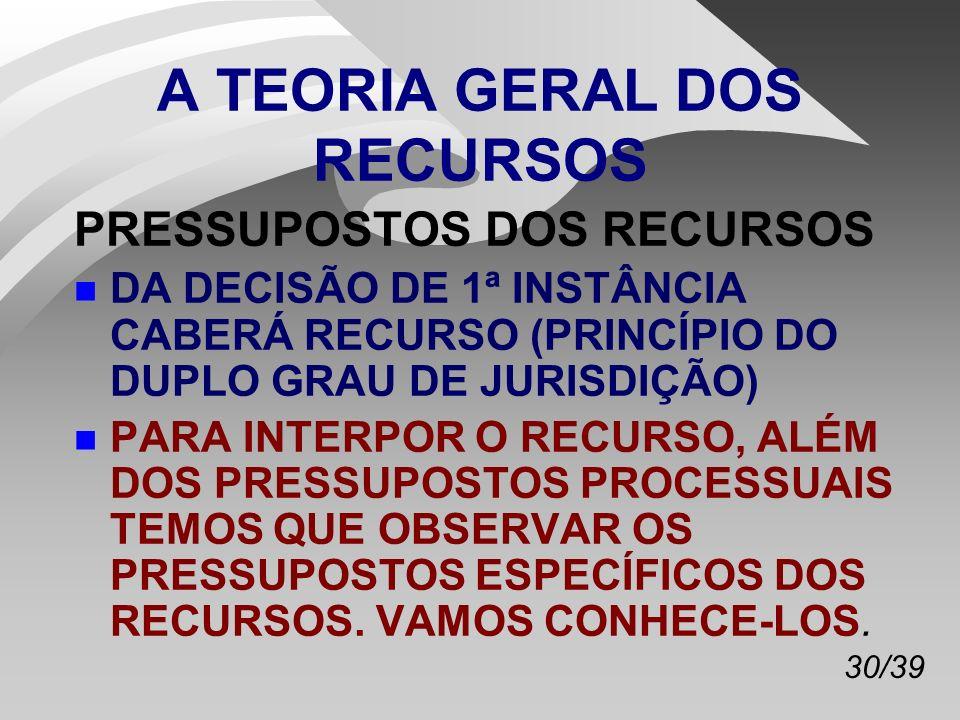 A TEORIA GERAL DOS RECURSOS
