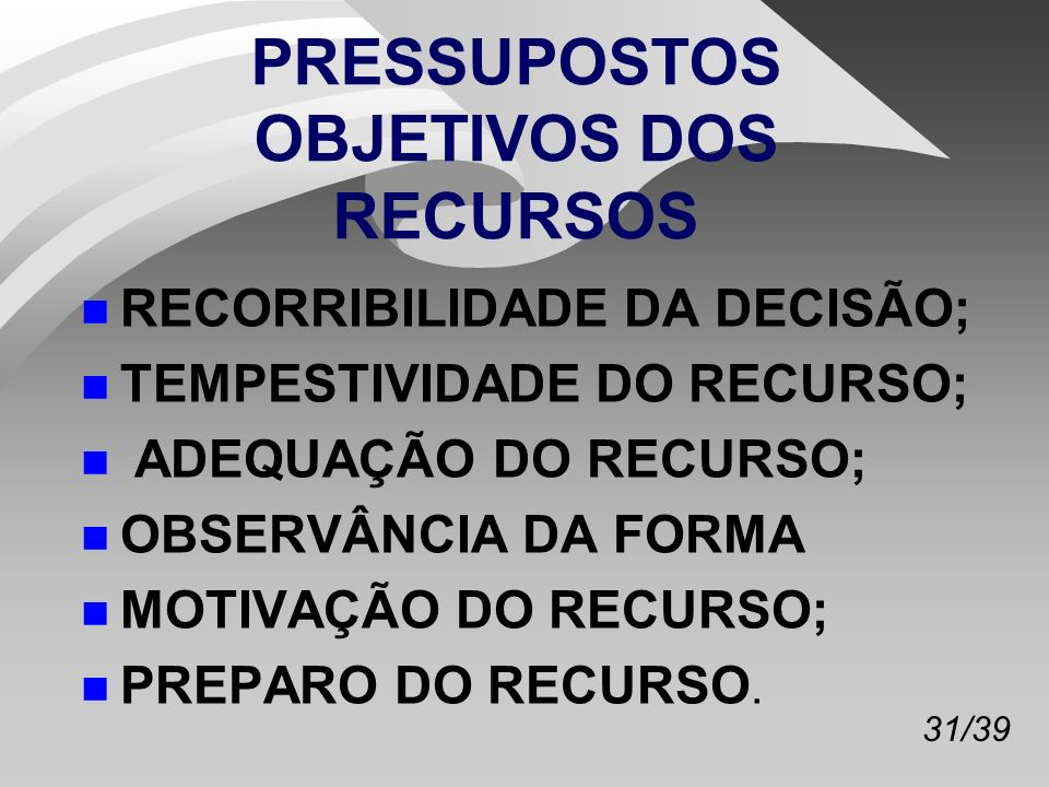 PRESSUPOSTOS OBJETIVOS DOS RECURSOS