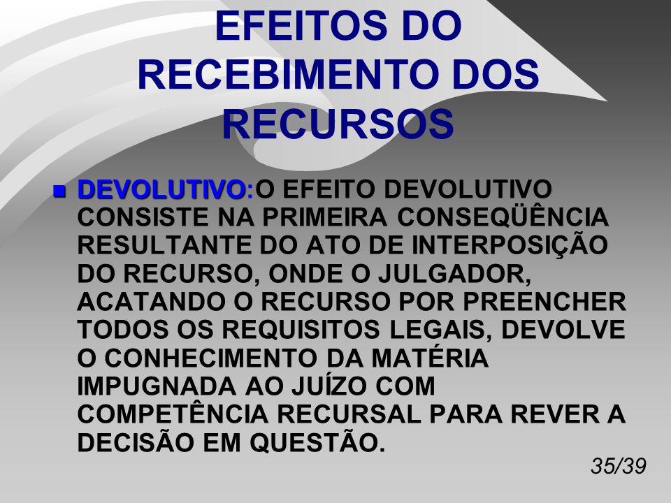 EFEITOS DO RECEBIMENTO DOS RECURSOS