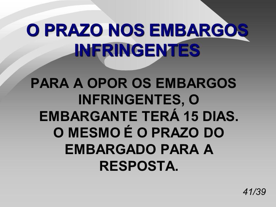 O PRAZO NOS EMBARGOS INFRINGENTES