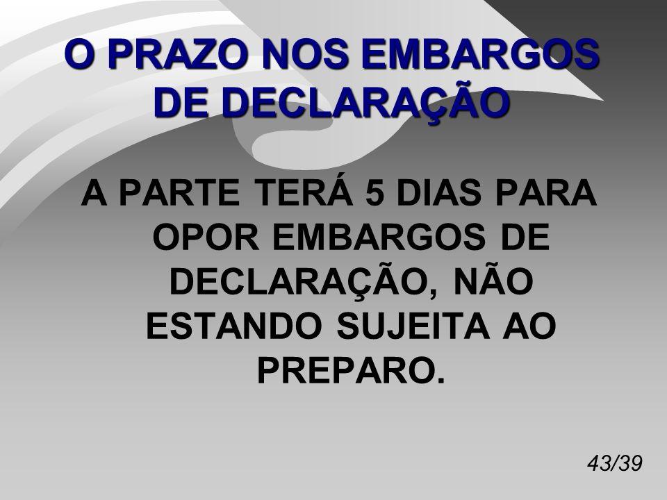 O PRAZO NOS EMBARGOS DE DECLARAÇÃO