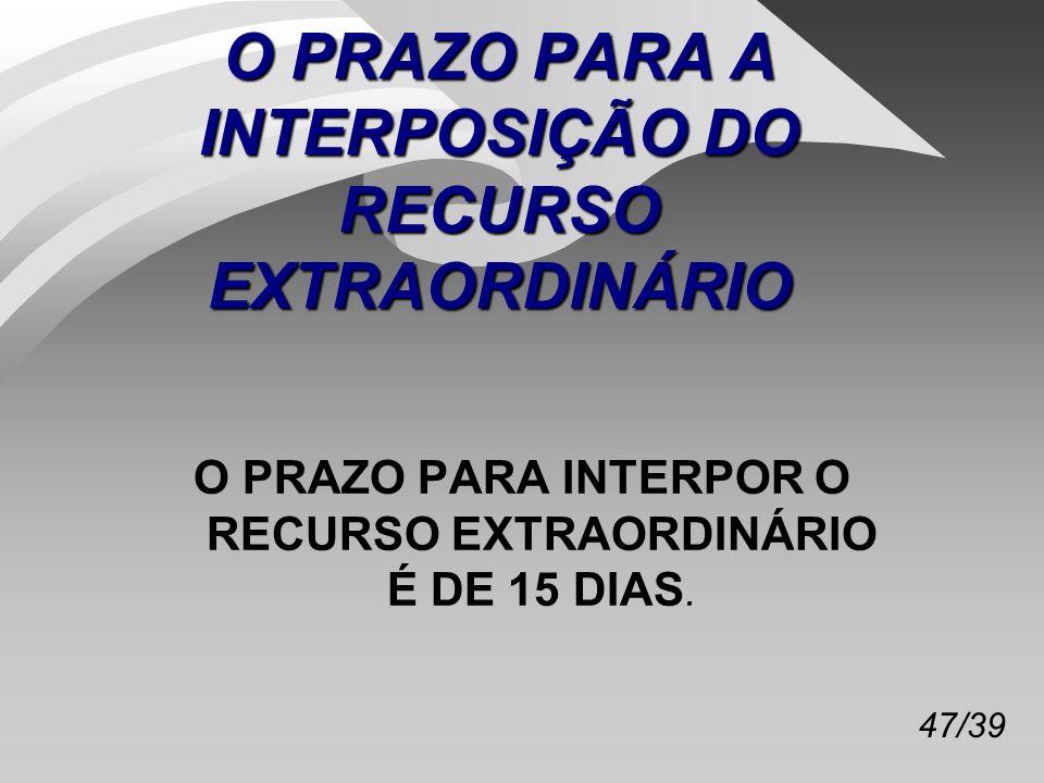 O PRAZO PARA A INTERPOSIÇÃO DO RECURSO EXTRAORDINÁRIO