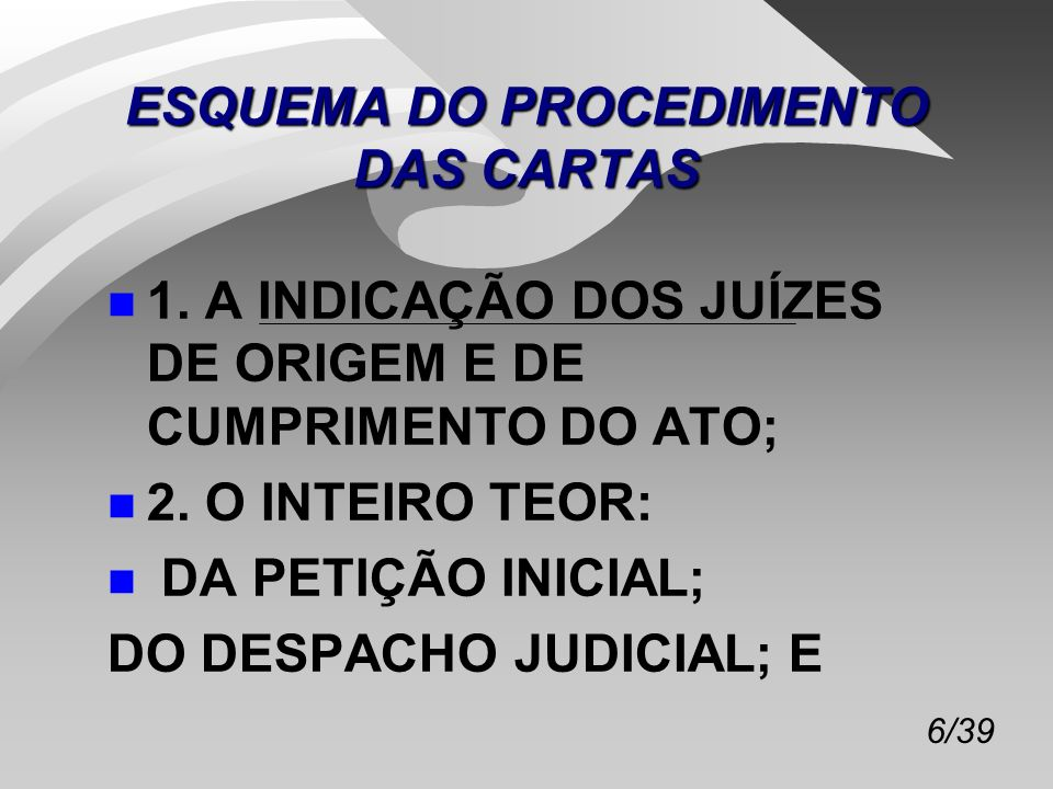 ESQUEMA DO PROCEDIMENTO DAS CARTAS