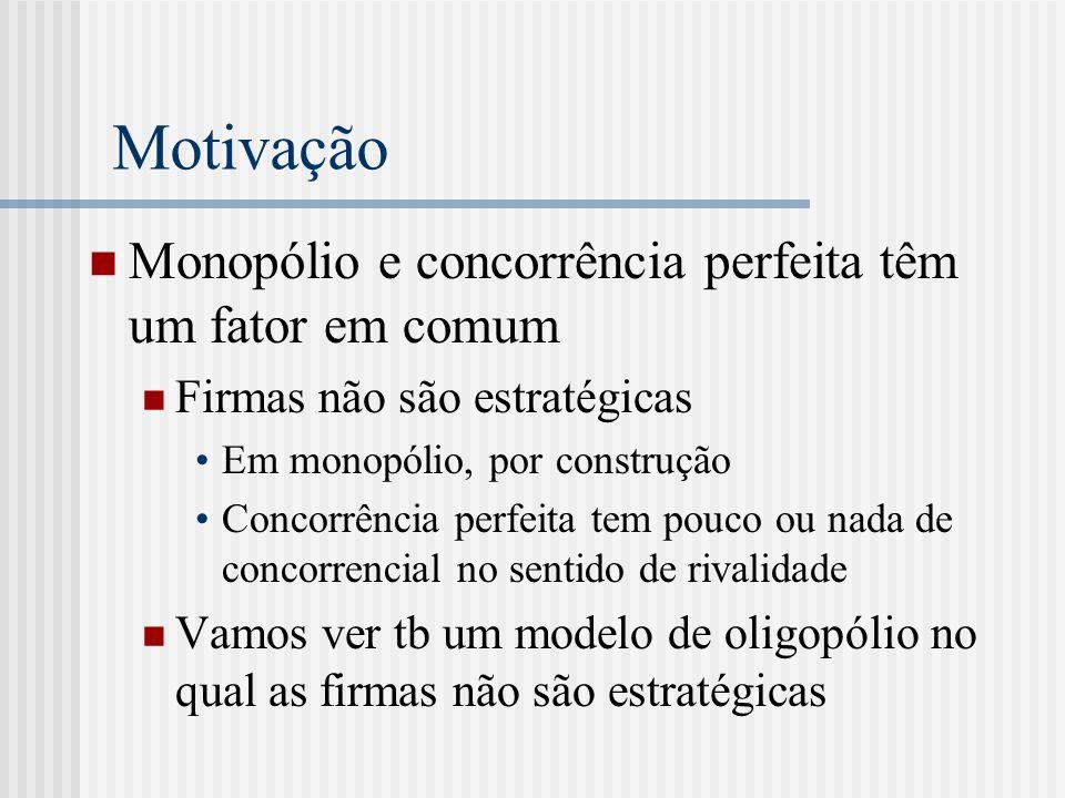 Motivação Monopólio e concorrência perfeita têm um fator em comum