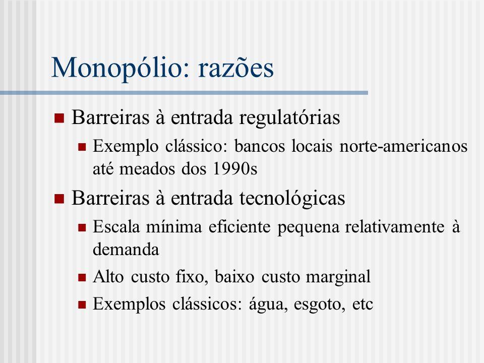 Monopólio: razões Barreiras à entrada regulatórias