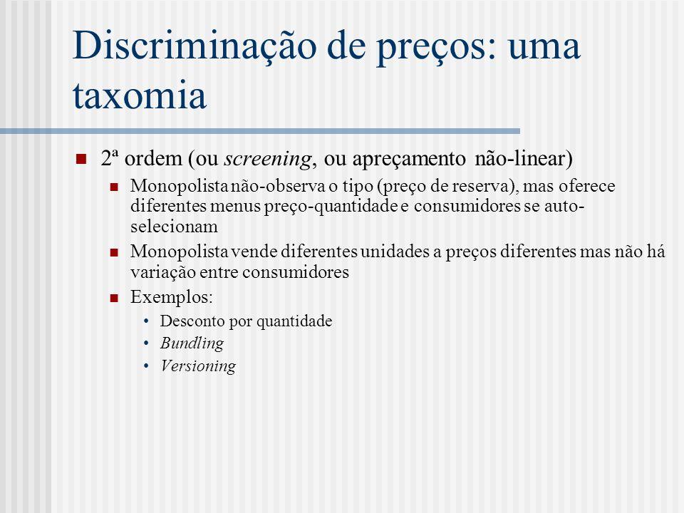 Discriminação de preços: uma taxomia