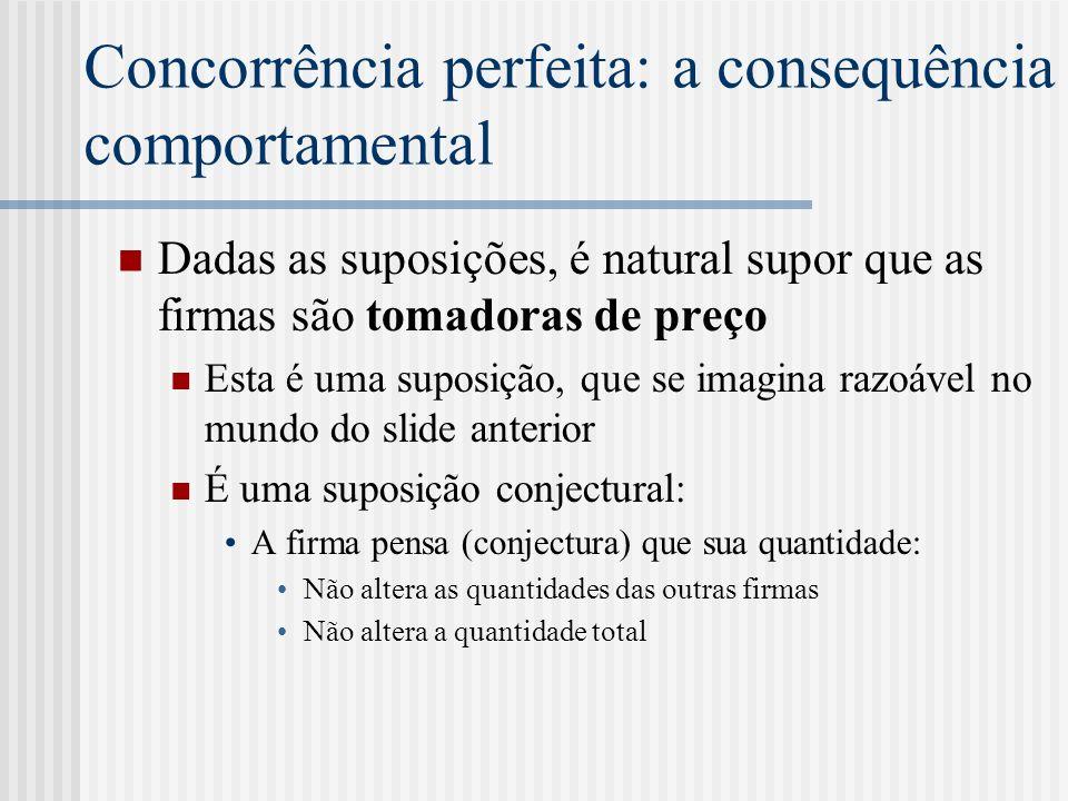 Concorrência perfeita: a consequência comportamental