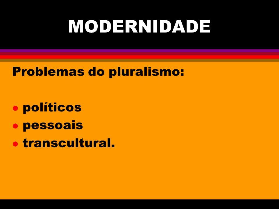 MODERNIDADE Problemas do pluralismo: políticos pessoais transcultural.