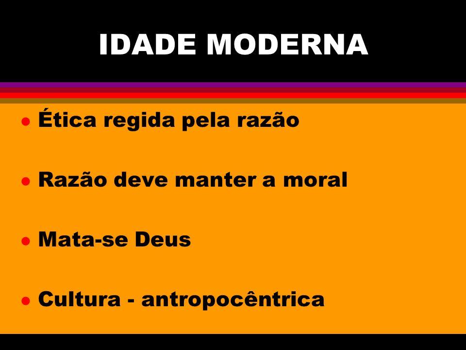 IDADE MODERNA Ética regida pela razão Razão deve manter a moral