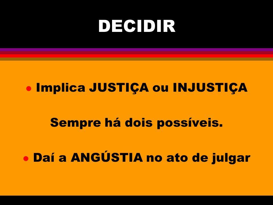 DECIDIR Implica JUSTIÇA ou INJUSTIÇA Sempre há dois possíveis.