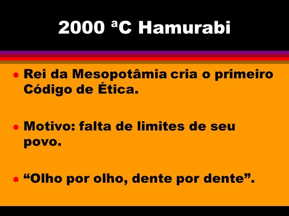 2000 ªC Hamurabi Rei da Mesopotâmia cria o primeiro Código de Ética.