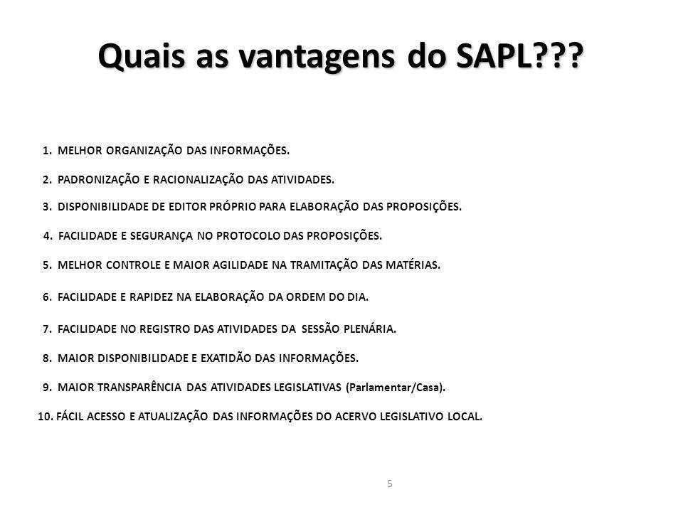 Quais as vantagens do SAPL 