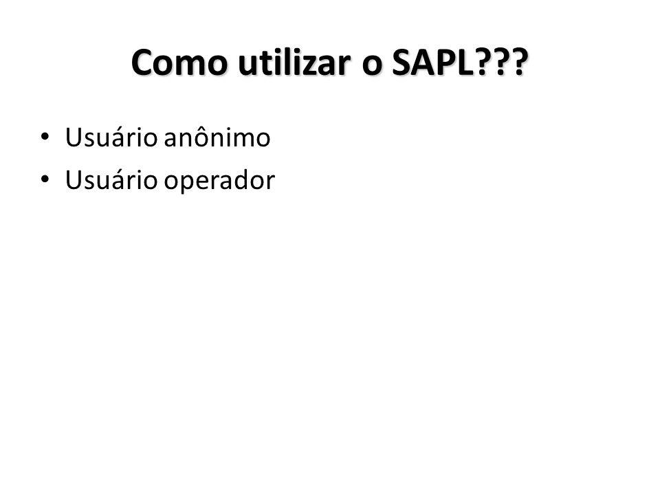 Como utilizar o SAPL Usuário anônimo Usuário operador